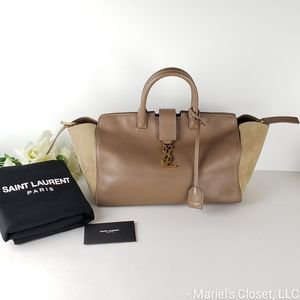 Authentic YSL Calfskin Suede Downtown Cabas Taupe #2253